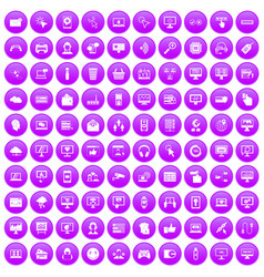 100 internet icons set purple vector image