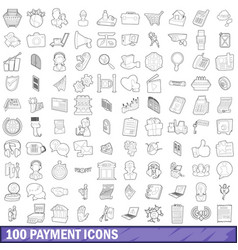 100 payment icons set outline style vector image