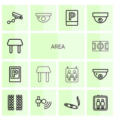 14 area icons vector