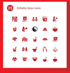 25 asian icons vector