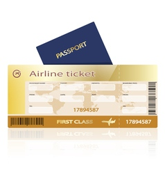 Air ticket golden vector