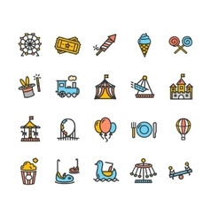 Amusement Park Outline Colorful Icon Set vector image