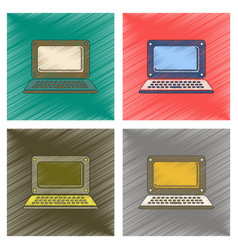 Assembly flat shading style icon laptop vector