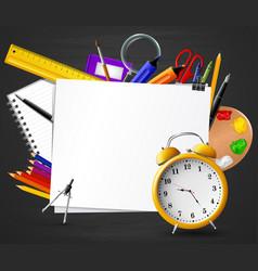 back to school chalkboard with school supplies vector image