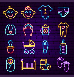 bashower neon icons vector image