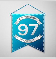 blue pennant with inscription ninety seven years vector image