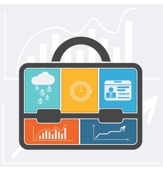 Briefcase with graph clock badge money cloud vector