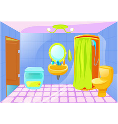 Bright cartoon bathroom interior vector