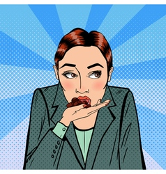 Business Woman Eating Chocolate Stress at Work vector image