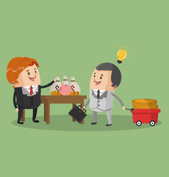 Businessmens with money savings vector