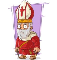 Cartoon old catholic priest vector