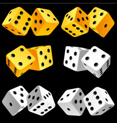 Casino dice set of authentic icons yellow and vector