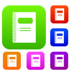 closed spiral notebook set color collection vector image