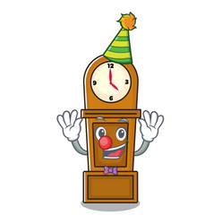 Clown grandfather clock mascot cartoon vector