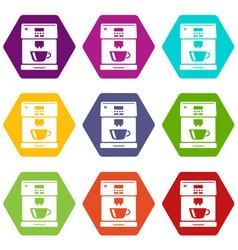coffee machine icons set 9 vector image