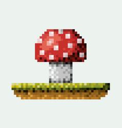 color pixelated mushroom in meadow vector image