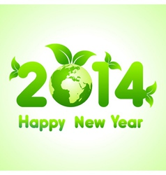 Creative new year with eco earth2014 vector image