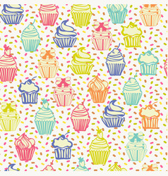 cute colorful seamless pattern with cupcakes vector image