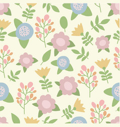 cute hand drawn summer pastel colors flowers vector image