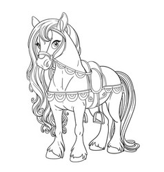 cute horse harnessed to a saddle outlined picture vector image
