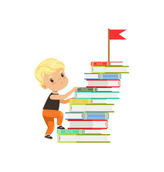 Cute little boy character climbing stairs made of vector