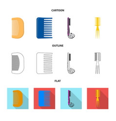 design of brush and hair sign set of brush vector image