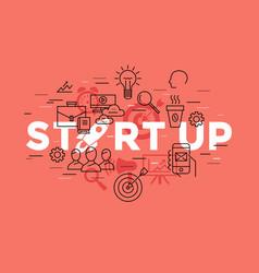 Digital red startup vector