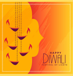 Diwali festival greeting with hanging diya vector