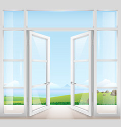 Door with window to the terrace vector