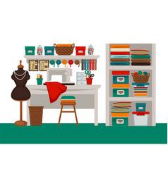 Dressmaker modiste salon workplace or atelier vector