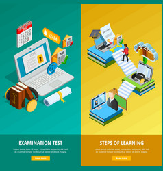 E-learning Vertical Banners Set vector image