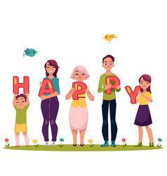 Family members holding letters word happy vector