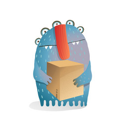 Fictional character holding a cardboard box vector