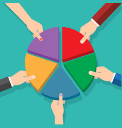 five hands picking pie chart parts vector image