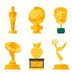 Flat design of set award success and vector image vector image