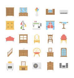 Flat icons pack of furniture vector