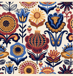 Folk floral seamless pattern vector
