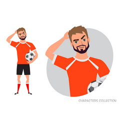 Football player is pensive thinking portrait vector