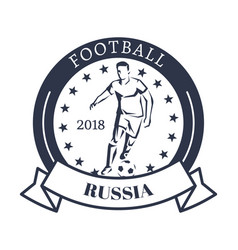Football russia 2018 sporty logotype with kicker vector