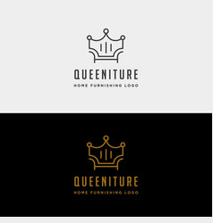 Furniture crown logo design with gold color icon vector