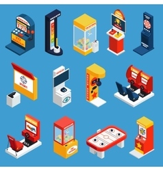 Game Machine Isometric Icons vector