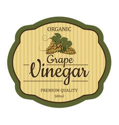 Grape vintage vinegar label frame design for vector