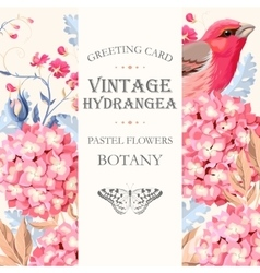 Greeting card with hydrangea vector image