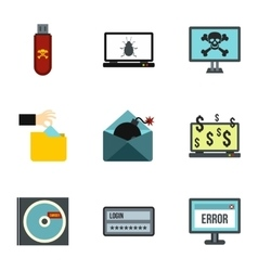 Hacking icons set flat style vector