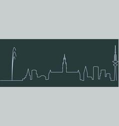 Hamburg single line skyline vector