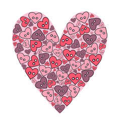 hand drawn sewing buttons in the shape of a heart vector image