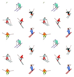 Happy skiers vector