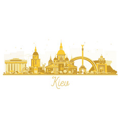 Kiev ukraine city skyline golden silhouette vector