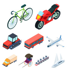 land water air transport machines that people vector image