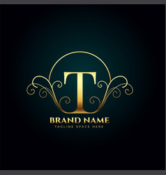 Letter t logo monogram in golden luxury style vector